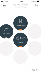 hive heating control dashboard