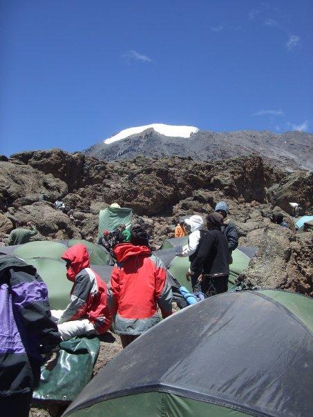 camping up Kilimanjaro at camp Barafu