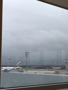 A seat with a view in our airport lounge - even if the view was grey and miserable