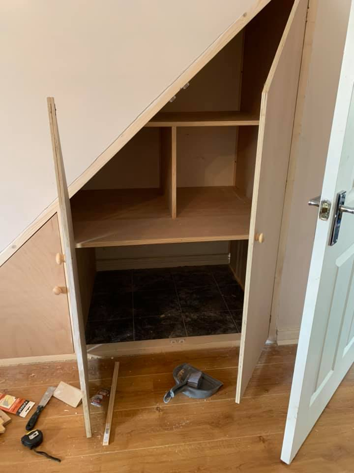 under stairs storage from the side