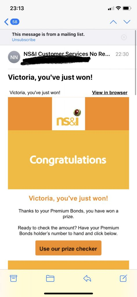 premium bonds winners emails